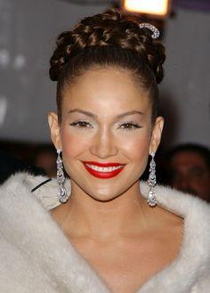 Jennifer Lopezs high braided updo hairstyle