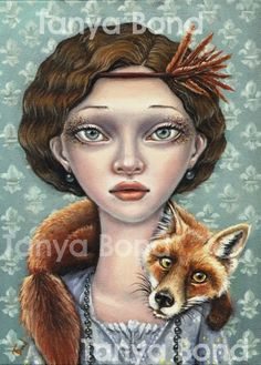 ISABELLE AND LUDWIG - surreal pop fantasy art 1920s girl and fox - 5x7 print of an original painting by Tanya Bond