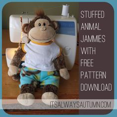 stuffed animal pajamas | super #easy free #sewing #pattern for #pajamas that fit a #buildabear or average sized #stuffed #animal, #toy, or #teddybear - great handmade Christmas #gift idea!