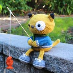 Spencer the fishing kitty amigurumi crochet pattern by Little Muggles