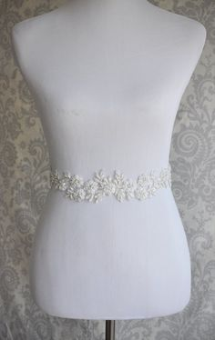 Lace Bridal Sash floral lace wedding sash by januaryrosebridal  - Maybe better if it were a little whiter to match your dress