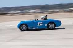 Dewey deButts going into turn 10 in his 1960 Austin-Healey Sprite.