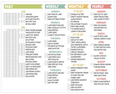cleaning checklist this week for daily, weekly, monthly & yearly