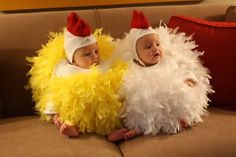 Twins with Tots: Twin Babies in Chicken Costumes - Over the top CUTE!!! @Rachel Caulkins halloween costume ideas, first halloween, baby costumes, baby halloween, future kids, family halloween costumes, toddler, twin babies, baby chicks