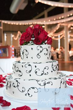 Heather Martin Photography- red wedding accents, red wedding cake, red wedding flowers