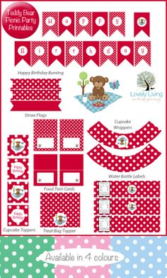 *** Free ***Teddy Bear Picnic Party Printable Collection - In 4 Colours