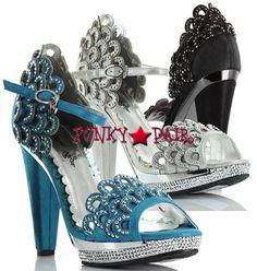 blue! BP461-Lourdes, 4 inch high heel rhinestones scallop Sandal