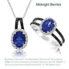 The Black and Blue trend also features the Blackberry Diamonds™ and Blueberry Tanzanite™ combination as shown in classic looks as pictured here from Le Vian®.  The double berry combination shows the two as naturally complementary.