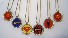 Quantity of 6 Superman Birthday Party Favors by BlingForU2 on Etsy, $12.20
