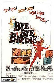 Bye Bye Birdie is a 1963 musical comedy film from Columbia Pictures.[1] It is a film adaptation of the stage production of the same name. The screenplay was written by Michael Stewart and Irving Brecher, with music by Charles Strouse and lyrics by Lee Adams.