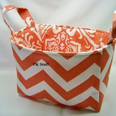 PK Fabric Basket in Coral Chevron  Ready To Ship  by PKStuff, $14.50