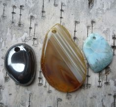 Three Stone Pendants, Agate, Larimar, and Hematite, Top Drilled.