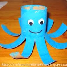 Octopus out of toilet paper tube.