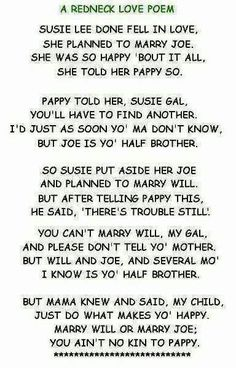 A Redneck Love Poem (cute and funny!)