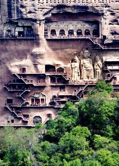 """Maijishan Grottoes. Located Southeast of Tianshyui City in Gansu Province on a 142 meters high hill named Maijishan, meaning """"Wheat-pile Hill"""" (4th century)."""