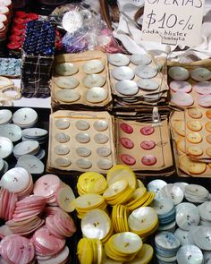 Colourful vintage buttons.