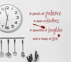 Kitchen Wall decals  Recipe quote Pinch of by HouseHoldWords, $17.00