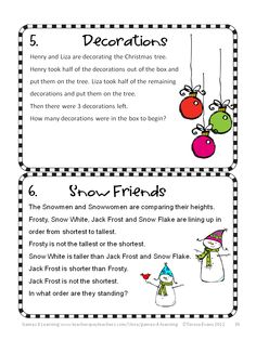 Christmas Math Brain Teasers from Christmas Math, Games, Puzzles and Brain Teasers. It is loaded with Christmas math fun. $