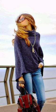 Fall street style with comfy and cozy poncho