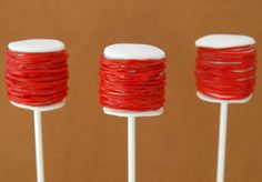 Red Spools of Thread Cake Pops