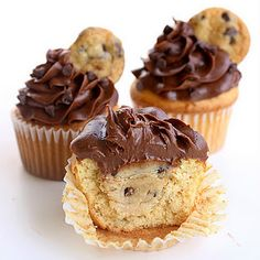 Chocolate Chip Cookie Dough Cupcakes - anything with cookie dough and i'm SO there.