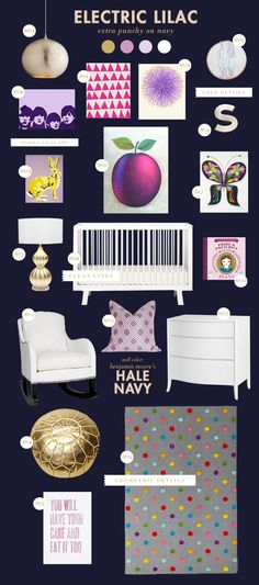 purple and navy nursery style board inspiration