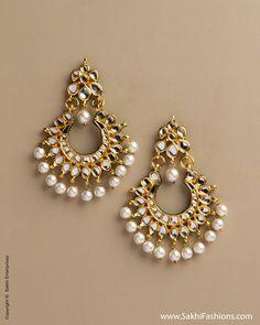 "Lovely #Jhumka #Earrings, feat ""Kundan like Stones with Pearl drops"" Rs 3250"