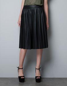 LEATHER-EFFECT RUBBERISED SKIRT - Skirts - Woman - ZARA United States