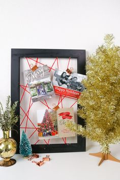 DIY Framed Web Christmas Card Holder