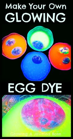 Homemade Egg Dye that GLOWS in the dark to make GLOW Eggs.   The colorful effects of this egg dye technique are AMAZING!