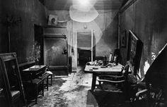 This is a new view of a photograph that appeared, heavily cropped, in LIFE, picturing Hitler's command center in the bunker, partially burned by retreating German troops and stripped of valuables by invading Russians.