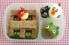 Very cool idea for kids lunch...Angry Birds!  From www.anotherlunch.com