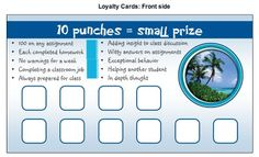 Vista print ideas in the middle school classroom - I like the punch card. Could use these with Class Dojo.