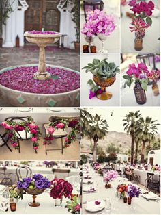 A few examples of the lovely rich colors used in the Palm Springs wedding pinned earlier ~  stylemepretty.com... ~ Wedding Photography: Joy Marie Photography / Wedding Venue: Korakia Pensione in Palm Springs, California / Event Planning + Design: Amy Kaneko Events / Floral Design: The Velvet Garden