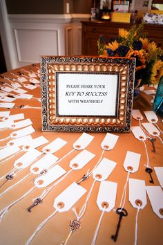 Keys to success...love this idea. Might be a neat scholarship idea...have donor fill it out and then they present this key to their scholars... old keys, baby shower ideas, grad parties, graduation ideas, happy marriage, parti idea, graduation parties, baby showers, graduat parti