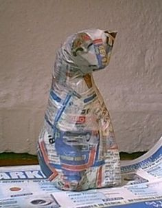 Paper mache animal under construction