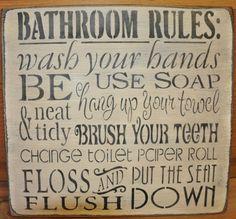 Western Bathroom Ideas   Primitive Rustic Western Shab Bathroom Rules by theprimitivebarn1, $24 ...