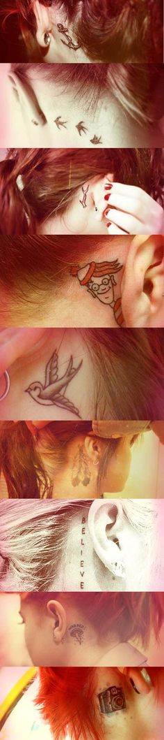 Behind the ear tattoos. The anchor and feather one is what I'm looking at.