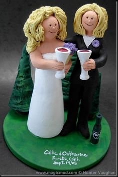 Gay Bride in Suit Wedding Cake Topper  Let's have a toast to some lovely women who we had the pleasure to create a customized topper for. They are a striking same sex couple, the 1 bride in a gorgeous wedding gown and the other in the more traditional black suit / tux look….$235#gay#lesbian#two_brides#two_women##wedding #cake #toppers  #custom #personalized #Groom #bride #anniversary #birthday#wedding_cake_toppers#cake_toppers#figurine#gift