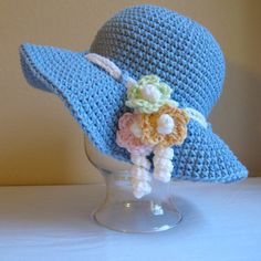CROCHET PATTERN - Spring Garden - a spring/summer hat with flowers in 6 sizes (Infant - Adult S) - Instant PDF Download