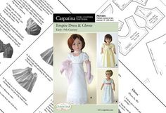 Period Doll Clothes Pattern for Empire Dress and by carpatina, $9.98