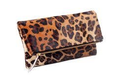 Leopard fold over clutch, Leopard Clutch, Leather leopard clutch, Lepoard Clare Vivier inspired clutch