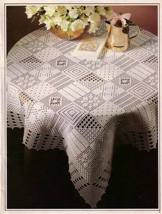 white tablecloth, crochet tablecloth
