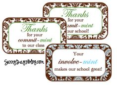 Free printables to print and stick onto new or used Altoid tins for Secretary's Day... or parent volunteers, too!