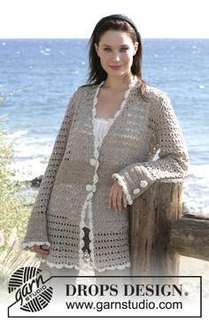 "DROPS Crochet jacket in ""Alpaca"". Sizes S - XXXL ~ DROPS Design"