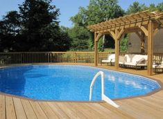 pool idea, above ground pool with deck, project idea, hous idea, pool deck with pergola, above ground pools with decks, pool decks