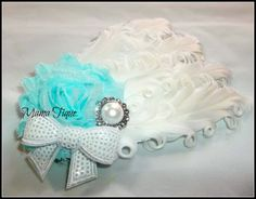 white feather, flower sequin, shabbi flower, sequin bow