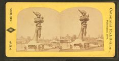 May 1876, Philadelphia PA: Statue of Liberty's right hand and torch at the Centennial Exposition. For 50 cents, visitors could climb the ladder to the balcony. The money raised was used to fund the pedestal for the Statue. Afterwards the Exposition, the Statue's torch was displayed at Madison Square in New York City until 1882. #americanhistory #history #StatueofLiberty