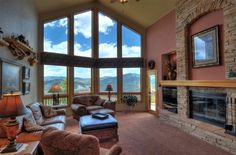 2 1/2 story great room at Evergreen Mountain Castle - Evergreen, Colorado