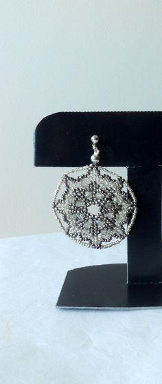 Beadwork jewelry Silver Snowflakes earrings Seed Beads earrings